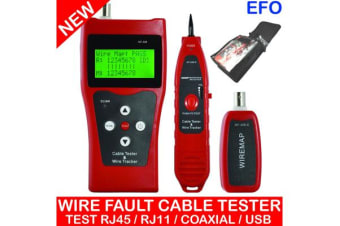 Network Cable Tester Wire Fault Locator Tracker Lcd Rj45 Rj11 Bnc Usb Nf-308