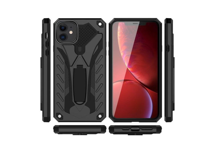 For iPhone 11 Case  Armour Strong Shockproof Cover Kickstand  Black