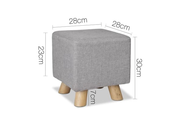 Linen Square Foot Rest (Grey)