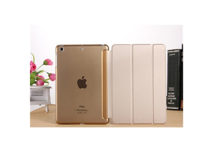 Premium Leather Business Slim Folding Stand Folio Cover For Ipad Gold Por(9.7)