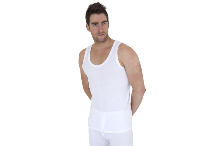 Mens Thermal Underwear Sleeveless Vest Polyviscose Range (Pack Of 2) (British Made) (White) (Chest: 43-45inch (X-Large))