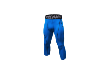 Men'S Compression Capri Shorts Baselayer Cool Dry Sports Tights - Blue Blue S