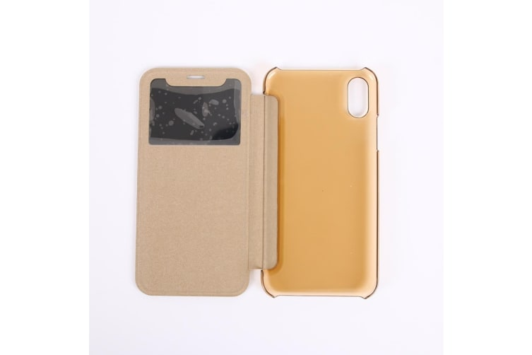 For iPhone XS X Case  Caller ID Display Durable Protective Leather Cover Gold