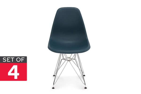 Shangri-La Set of 4 DSR Dining Chairs - Eames Replica (Teal/Chrome)