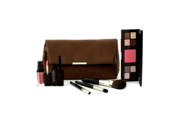 Laura Mercier Laura's Beauty Essentials Colour & Brush Collection (1x3 Well Custom Compact, 1xMascara, 1x Lip Glace, 3xApplicator) (6pcs+1bag)