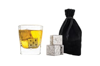 4pc Bartender Reusable Stainless Steel Dice Square Drink Ice Cubes Chiller w Bag