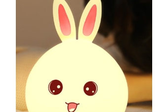 Select Mall Remote Control USB LED Creative Induction Rabbit Night Light Colorful Cute Rabbit Silicone Lamp-Pink