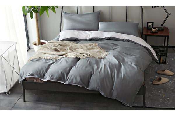 Image of 1000TC Microfibre Soft Duvet/Doo/Quilt Cover Set White&Grey SINGLE