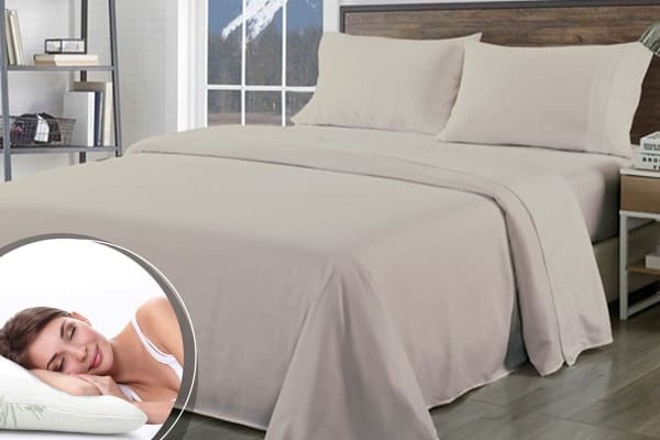 Royal Comfort 1000TC Bamboo Blend Sheet Set + Bamboo Pillow Twin Pack (King, Warm Grey)