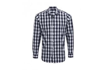 Premier Mens Mulligan Check Long Sleeve Shirt (White/Navy)