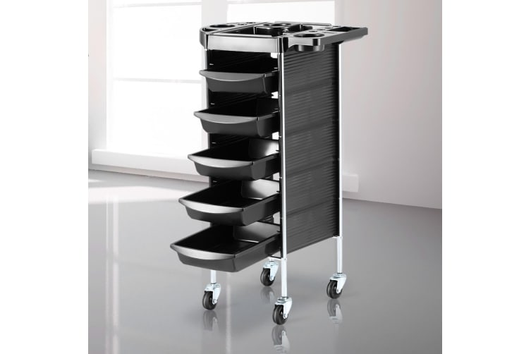 6 Tiers Hairdressing Storage Trolley Beauty Salon Rolling Cart 5 Drawers