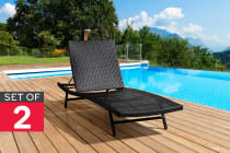 Set of 2 Shangri-La Wicker Sun Lounger (Dark Brown)
