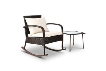 Gardeon Outdoor Furniture Rocking Chair Table Wicker Garden Patio Lounge Brown