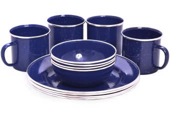 OZTRAIL 12 PIECE ENAMEL DINNER SET CAMPING WARE PLATE BOWL MUG NEW 4 PERSON NEW