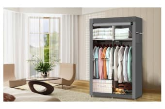 Large Portable Clothes Closet 2 rack(2 doors) in Grey