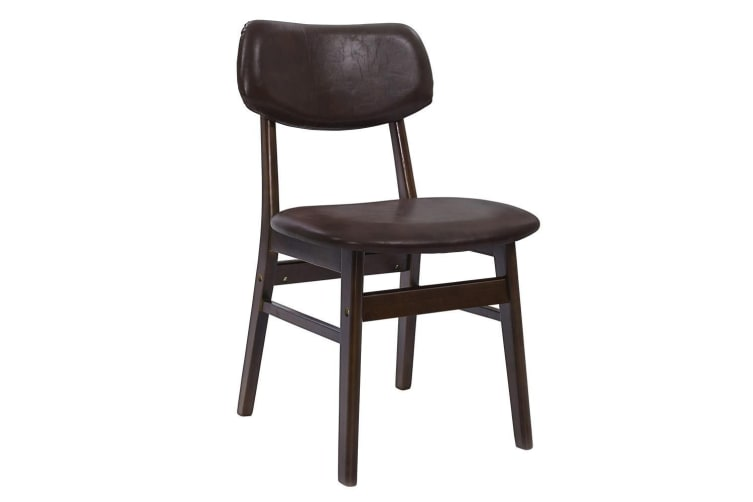 Artiss Dining Chairs Retro Replica Kitchen Cafe Wood Chair Fabric Pad Brown x2