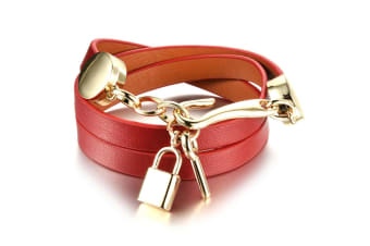 Genuine Cow Leather Wrap Bracelet With 18K Gold Lock & Key Charm-Leather/Red