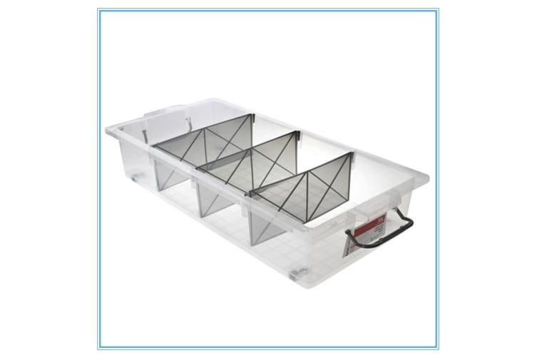 3 x Clear Plastic Storage Box 35L with Removable Dividers Containers Bin Tubs Fd