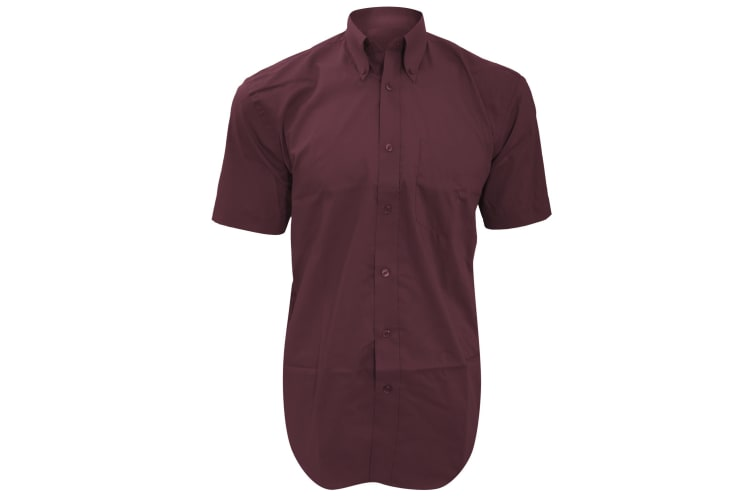 Kustom Kit Mens Short Sleeve Corporate Oxford Shirt (Burgundy) (19inch)