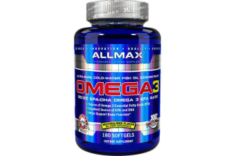 ALLMAX Nutrition Omega-3 Fish Oil Ultra-Pure Cold-Water Fish Oil - 180 Softgels