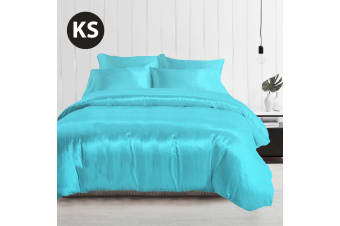 King Single Size Silky Feel Quilt Cover Set-Aquamarine