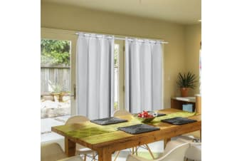 2X Blockout Curtains Panels Blackout 3 Layers Room Darkening Pure With Gauze NEW  -  Grey140x213cm (WxH)