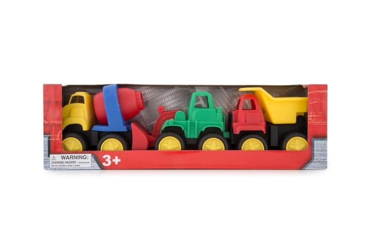 3x 3pc Hunson Construction Dump Truck/Mixer/Loader Sand Toys Kids/Children 3y+