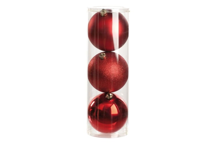 Christmas Shop Shiny/Matt/Glitter Baubles (Set Of 3) (Red) (One Size)