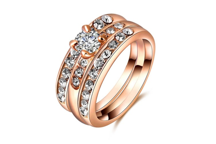 Austrian Crystal Diamond Plating Rose Gold Ring 6