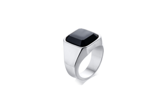 Men'S Rings Stainless Steel Black Agate Ring Anti-Allergy Ring - Silver 10