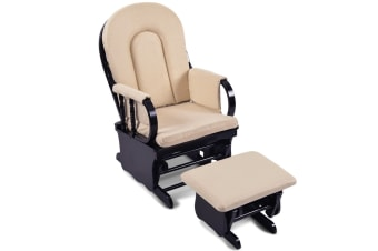 Baby Breast Feeding Sliding Glider Chair with Ottoman (Beige)