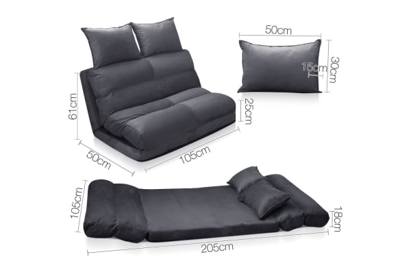 (Double) Size Adjustable Lounge Sofa 5 positions (Charcoal)