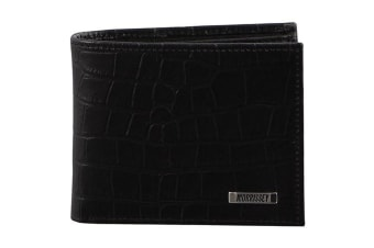 Morrissey Croc Embossed Italian Black Leather Wallet