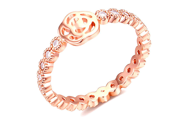 Flower Princess Ring-Rose Gold/Clear Size US 8