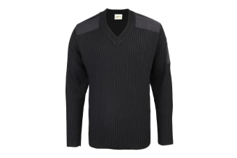 RTY Workwear Mens Security Style V-Neck Sweater (Black)