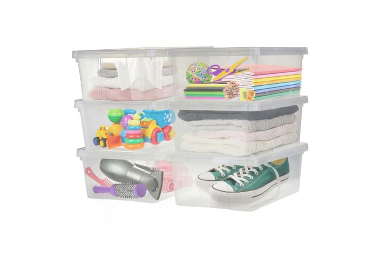 6PK Plastic Clear Storage Boxes 10L Crate Containers Tub with Lids BPA Free Box