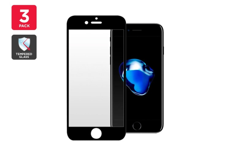 3 Pack Premium Tempered Glass Screen Protector for iPhone 7 (Black)