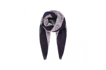 Intrigue Womens/Ladies Bordered Abstract Floral Pleated Scarf (Purple) (One Size)