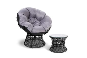 Gardeon Papasan Chair and Side Table (Black)