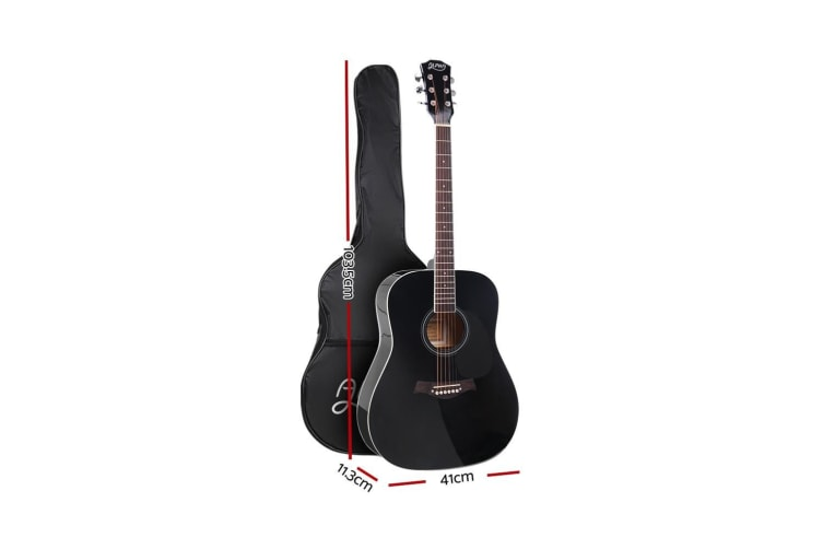 Alpha 41 Inch Wooden Folk Acoustic Guitar Classical Cutaway Steel String Black