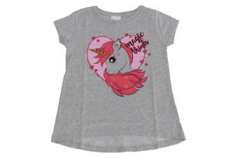 Childrens Girls Magic Thinks Unicorn T-Shirt (Grey)