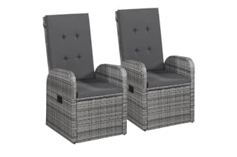 vidaXL Outdoor Chairs 2 pcs with Cushions Poly Rattan Grey