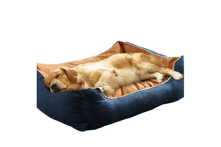 PaWz Pet Dog Cat Bed Deluxe Soft Cushion Lining Warm Kennel Mat Washable Blue XL  -  90x72x29cm90x72x29cm