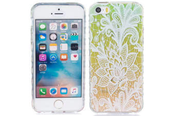 For iPhone SE 5S 5 Case Modern Grippy Mandala Shielding Cover Green  Yellow