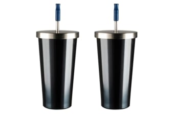 2x Avanti 500ml Vacuum Insulated Smoothie & Drinks Tumbler w Straw Steel Blue
