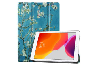 For iPad 10.2 Colored Drawing Horizontal Flip Leather Case   Smart Flip Cover Apricot Flower