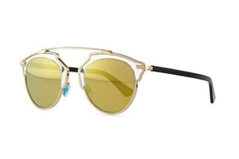 Christian Dior So Real - Gold Crystal Black (Gold Mirror lens) Womens Sunglasses