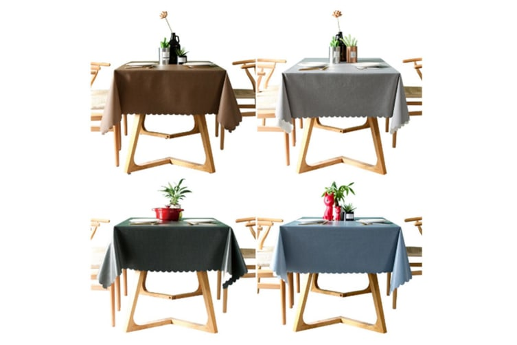 Pvc Waterproof Tablecloth Oil Proof And Wash Free Rectangular Table Cloth Coffee 140*140Cm