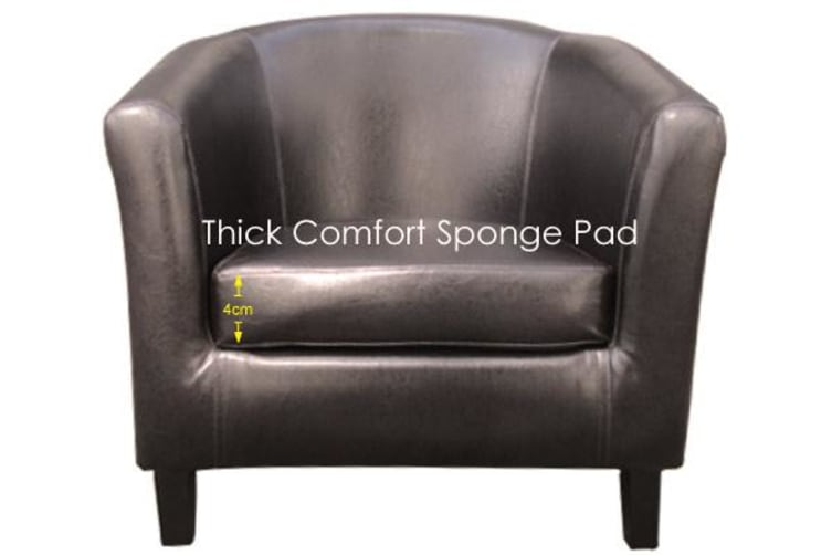 2X Tub Chair Brown Bonded Faux Leather Armchair Reception Office Sofa