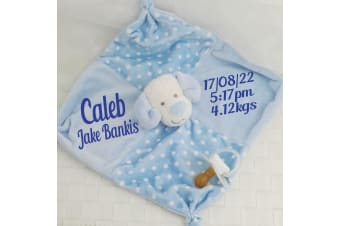 Diddles Personalised Doggie Baby Comforter - Blue